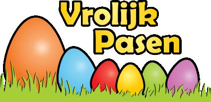 Raamsticker - Vrolijk Pasen met gekleurde eitjes in het gras ...