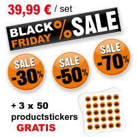 Black Friday Sticker set met 150 productstickers