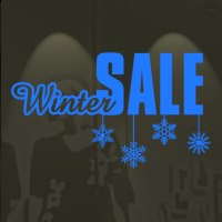 Winter sale met ijskristallen